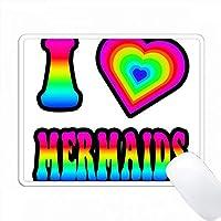 グルーヴィーヒッピーレインボーI Heart Love Mermaids PC Mouse Pad パソコン マウスパッド