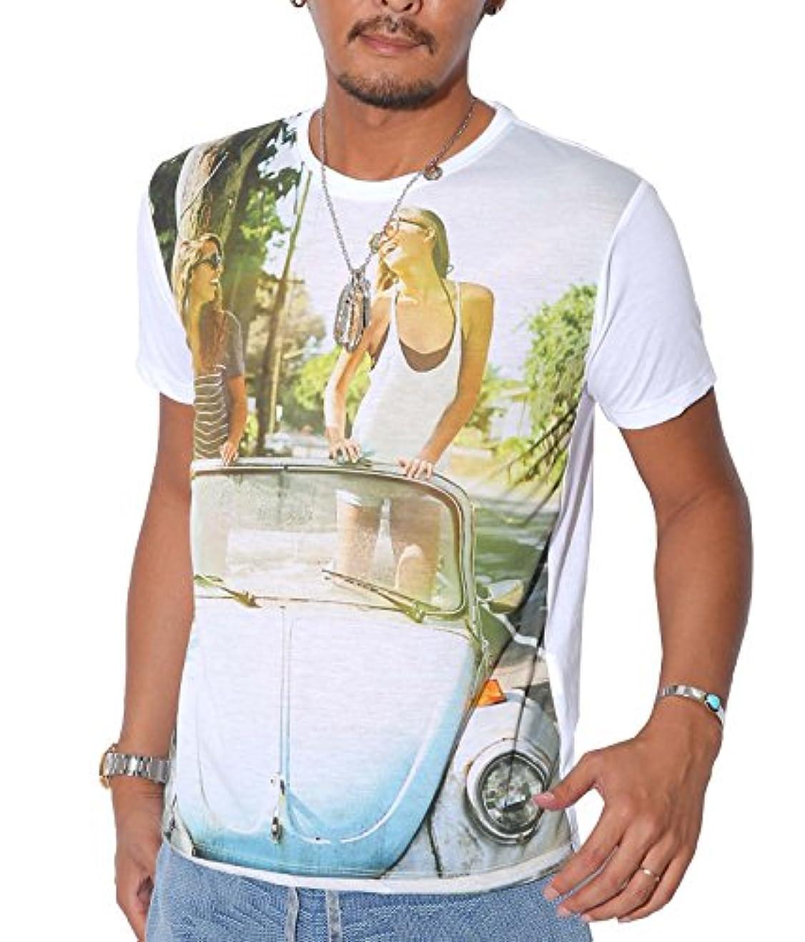 簡単に州ペインティング【ガールズフォトBIGプリント半袖Tシャツ】Tシャツ メンズ 半袖 星条旗柄