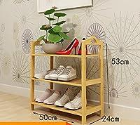 靴ラック竹靴棚フラットシューズディスプレイスタンドホームドアシューズラックソリッドウッド靴キャビネット (色 : A, サイズ さいず : 50cm)