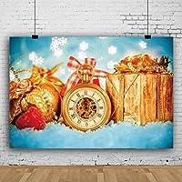 Qinunipoto 背景布 Merry Christmas クリスマス 撮影背景布 赤い目覚まし時計 写真背景 クリスマスプレゼント スノーフレークの背景 写真スタジオ 写真 カスタマイズ可能な背景 イースターの背景 子供用 新生幼児用