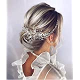 Deniferymakeup Crystal Bridal Hair Piece Bridal Hair Accessories Bridal Hair Comb Wedding Headpiece Wedding Hair Piece Wedding Hair Accessories (Silver)