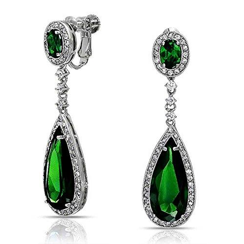 [해외][브링 보석] Bling Jewelry 로듐 황동 인공 에메랄드 CZ 큐빅 눈물 클립 롱 귀걸이 가져 오기/[Bring jewelry] Bling Jewelry Rhodium processed brass artificial emerald CZ cubic zirconia teardrop clip long earrings [Import]