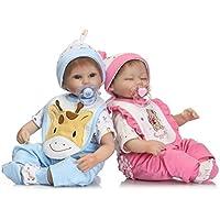 17インチ42 cm Lifelike Realistic Lovelyベビー人形TwinsソフトビニールReborn新生児赤ちゃん人形Boy & Girl Twins Set for Kids Gifts Growthパートナー