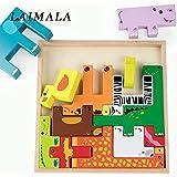 lorrie2019年に子供向けカラフルな 3D 漫画動物車両木製パズルジグソーパズルのおもちゃ子供の知能のため開発赤ちゃんの早期教育玩具