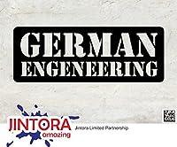 JINTORA ステッカー/カーステッカー - German engineering - ドイツ工学 - 190x70mm - JDM/Die cut - 車/ウィンドウ/ラップトップ/ウィンドウ- 黒