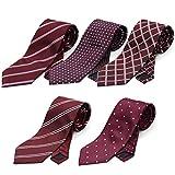 (スミスアンドスコット) Smith & Scott 全24パターン 洗濯 出来る ポリ ウォッシャブル ネクタイ 5本 セット 無地 ストライプ 小紋 チェック ドット 柄 ビジネス ブランド ネクタイ タイプ2