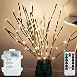 LXcom LED Branch Lights 3 Pack 20 LEDs Decorative Branches Battery Operated with Timer Brown Willow Twig Lighted Branches War