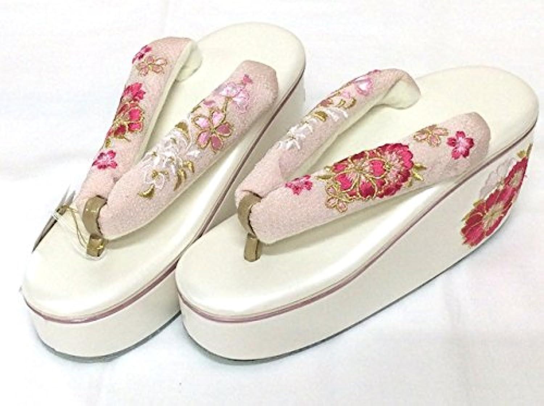 牡丹桜刺繍ヒール草履 成人式 振袖向き ピンク 白台 フリーサイズ