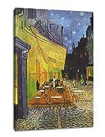 「夜の野外カフェ」現代ヴァンゴッホアートワーク抽象ストリート風景画像キャンバスプリントアート絵画はリビングルームの寝室にぶら下がって飾ることができる (40x60cmx1pcs, fangao5)