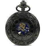 [モノジー] MONOZY 機械式 手巻き 懐中時計 両面 スケルトン アンティーク 風 ローマ数字 pwbl-c