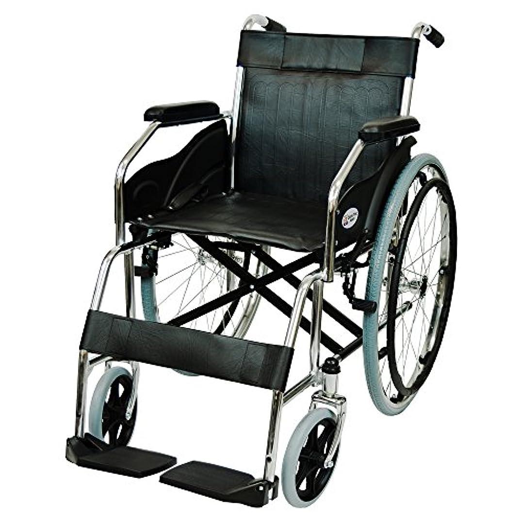 ステージ家庭教師ケアテックジャパン 自走式 スチール製 折りたたみ 車椅子 ウィッシュ CS-10 ブラック