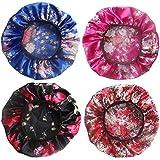 4 Pack Soft Satin Sleeping Cap Wide Band Salon Bonnet Silk Night Sleep Hat