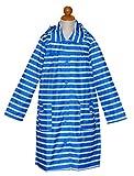 (グッズ) キッズ レインコート【コート型・マリンボーダ】収納バッグ付き (140cm, ブルー(コート型))