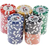 IPOTCH 100x Poker Chip Set with Plastic Case, Dice Chips 5,10,20,50,100 Value, Distinguish Color