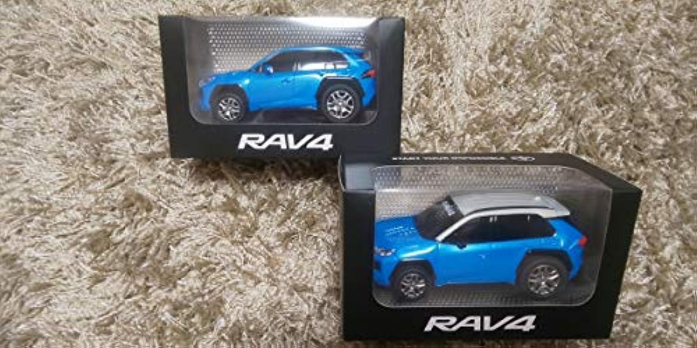 TOYOTA トヨタ 新型RAV4 プルバックカー2個set colorシアンメタリック MONOTONE TWOTONE 非売品 ミニカー