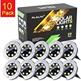 Solar Ground Lights, 8 LED Solar Disk Lights Outdoor Waterproof for Garden Yard Patio Pathway Lawn Driveway Walkway- Warm White (10 Pack)