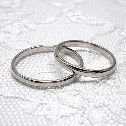 (リュイール)Luire 地金リング K18ホワイトゴールド ペアリング 刻印無料 甲丸 結婚指輪 マリッジリング 2本 セット