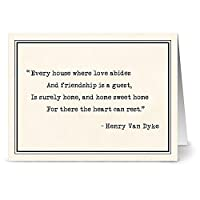 24 Home Quotes Note Cards For $9.99 - Hearts Rest at Home - Blank Cards - White Envelopes Included by Note Card Cafe