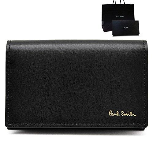 [名入れA筆記体] ポールスミス Paul Smith 正規品 本革 シティエンボス 名刺入れ ブラック ショップバッグ付 カードケース (名入れあり, ブラック)