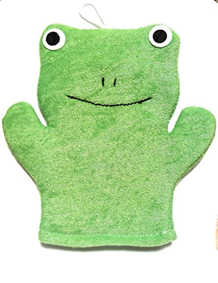 もっともらしい科学者庭園アニマル ウォッシュ ミトン お風呂が楽しみ? 手にはめて洗えるタイプのボディスポンジ (かえる)