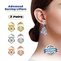 Love Lifters Premium Quality Earring Lifters   Gift Box   Ear Support   3-Pairs of Pierced Ear Lobe Back Lift   Sterling Silver, 18K Gold Plated and Rose Gold for Ear Lobe Reinforcement   Plus Bonus