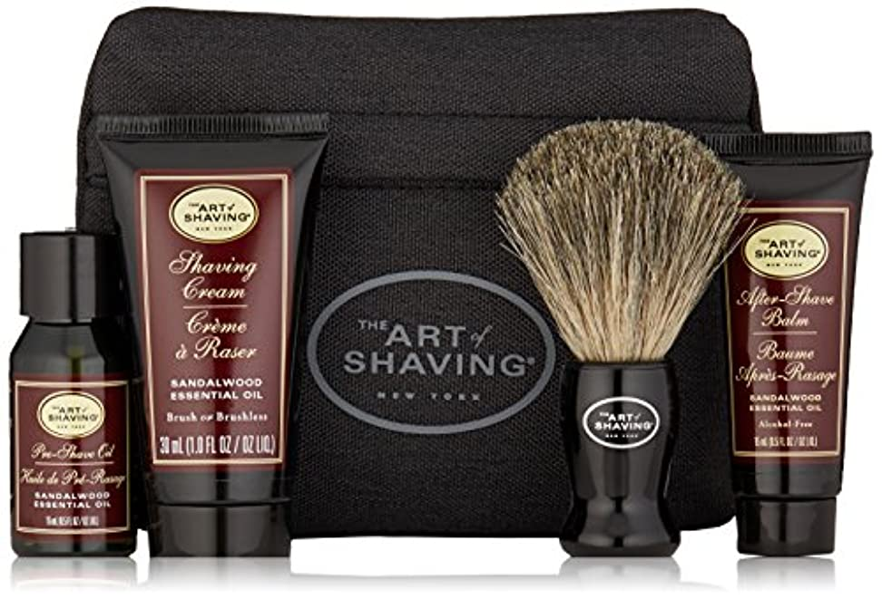 収益平らにする貴重なアートオブシェービング Starter Kit - Sandalwood: Pre Shave Oil + Shaving Cream + After Shave Balm + Brush + Bag 4pcs + 1Bag...
