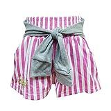 (ラスクガール)RUSKGIRL キッズ  飾り袖付 ストライプキュロット ピンク 100cm
