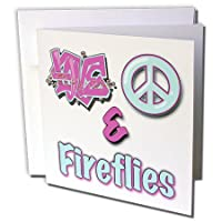 ブロンドDesigns動物Love Peace And In Pastels – Love Peace And Fireflies Inブルーandパープル – グリーティングカード Set of 6 Greeting Cards