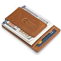 Genuine Leather Money Clip Wallet, RFID Blocking, Super Compact & Slim mens Wallet, Magnetic Cash Clip & Safe Card Holder by Venitou.