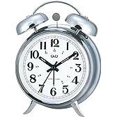 Q&Q 置時計 ベルアラーム音 シルバーメタリック/白 8271-001