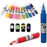 ネイルアートペン  3Dネイルアートペン ネイルマニキュア液 ペイントペン DIY 12色