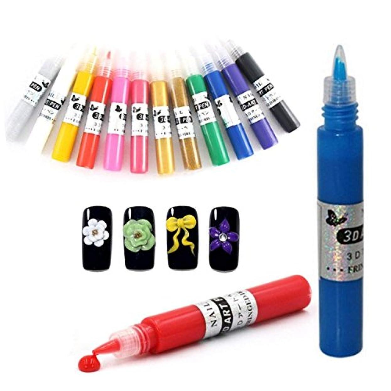 お茶介入する貞ネイルアートペン  3Dネイルアートペン ネイルマニキュア液 ペイントペン DIY 12色
