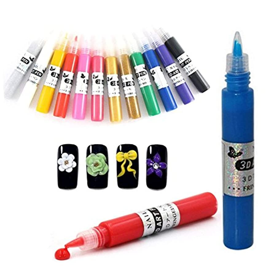 寄付するブラウス面倒ネイルアートペン  3Dネイルアートペン ネイルマニキュア液 ペイントペン DIY 12色
