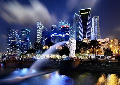 絵画風 壁紙ポスター (はがせるシール式) シンガポール マーライオン 夜景 マリーナ・ベイ キャラクロ SGP-002A2 (A2版 594mm×420mm) 建築用壁紙+耐候性塗料