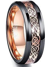 Vakki(ヴァッキ) メンズ リング タングステン ドラゴン 竜紋 指輪 平打ち 幅:8mm カラー:ピンクゴールド 超硬 13号