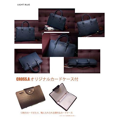 Cross.A カードケース&本革ビジネスバッグ MITコレクション 4色 (ライトブルー)