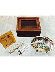 新しい年齢や汚れ& Herbs ® – カリフォルニアホワイトセージクレンジング|浄化| BlessingキットIncludes : Abalone Shell 4 – 5インチ、木製三脚4インチ、ホワイトセージ3 – ...