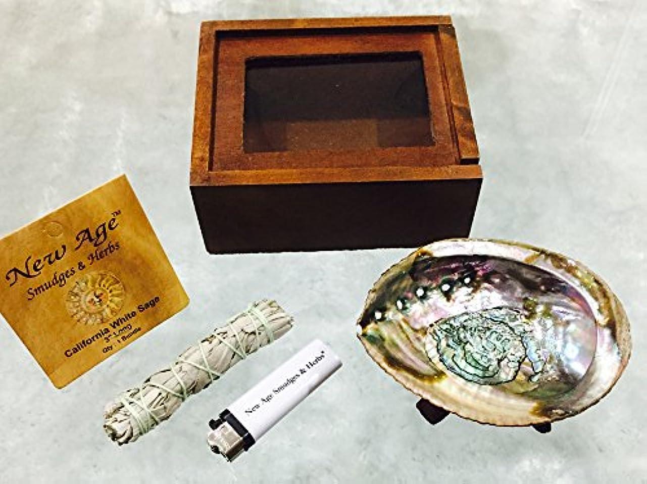 ムス格差幸福新しい年齢や汚れ& Herbs ® – カリフォルニアホワイトセージクレンジング|浄化| BlessingキットIncludes : Abalone Shell 4 – 5インチ、木製三脚4インチ、ホワイトセージ3 – 4インチ、木製ボックス、無料ギフト