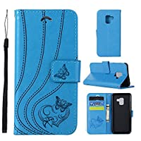 Flip Wallet Case for Samsung Galaxy A8 2018 プレミアム Shock Protection with Card Slots Lightweight スマホケース and Adjustable Stand Blue