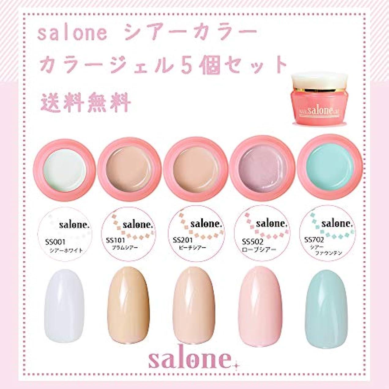 【送料無料 日本製】Salone シアーカラーカラージェル5個セット アンニュイでグラデーションにもピッタリなカラー