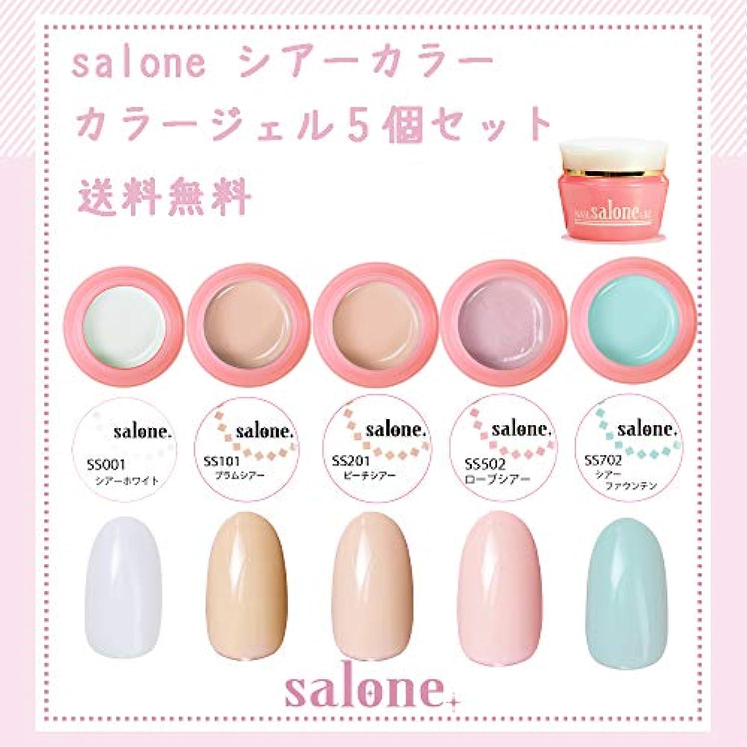 カウント唇印象的【送料無料 日本製】Salone シアーカラーカラージェル5個セット アンニュイでグラデーションにもピッタリなカラー