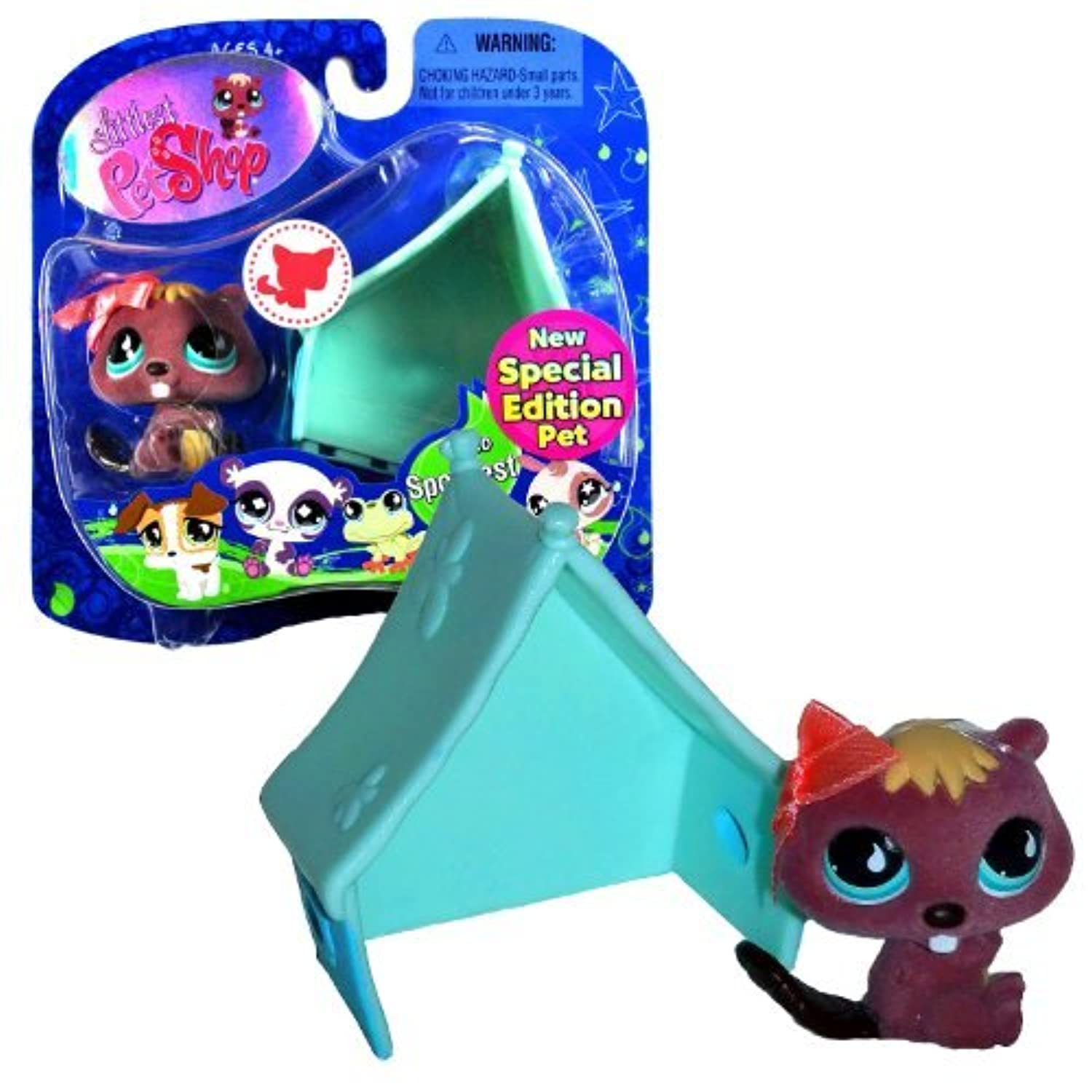 Hasbro Year 2008 Littlest Pet Shop Special Edition Pet - Sportiest Series Collectible Bobble Head Pet Figure Set #810 - Beaver with Pink Bow and Blue Tent by Littlest Pet Shop [並行輸入品]
