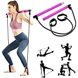 AMODAI Portable Pilates Bar Kit with Resistance Band Yoga Exercise Pilates Bar with Foot Loop Toning Bar Yoga Pilates for Yog
