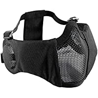 OneTigris 耳保護付き メッシュ フェイスマスク ハーフマスク 曇らないフェイスガード サバゲー装備 コスプレ用 (ブラック)