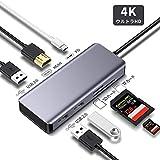 7in1 mac USB C ハブ 4K HDMI出力ポートUSB3.0 2.0ポート5Gbps高速伝送 Type-C PD充電ポート 87W急速充電 TF SDカードリーダー—Mreechan 高画質 HUB互換性 安定性抜群 コンパクト タイプcアダプタ