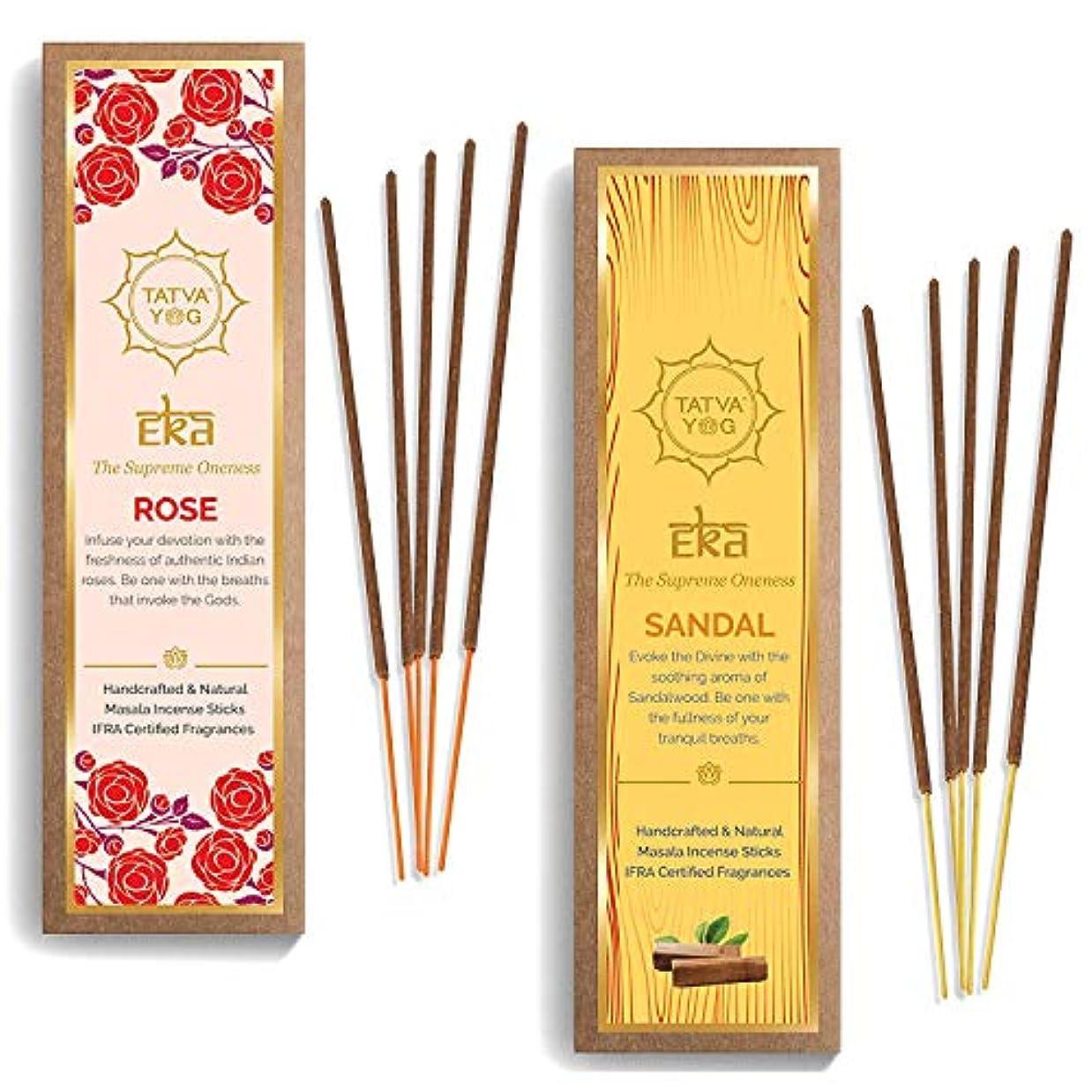 引き金編集者目の前のTatva YOG - Eka Rose and Sandal Handcrafted Natural Masala Incense Sticks