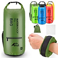 (30L, Army Green) - BFULL Waterproof Dry Bag 10L/20L [Lightweight Compact] Roll Top Water Proof Backpack with 2 Exterior Zip Pocket for Kayaking, Boating, Duffle, Camping, Floating, Rafting, Fishing