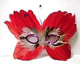 フェザーバタフライマスク レッド 変装用マスク 羽毛マスク 仮面 コスチューム コスプレ 仮装小物