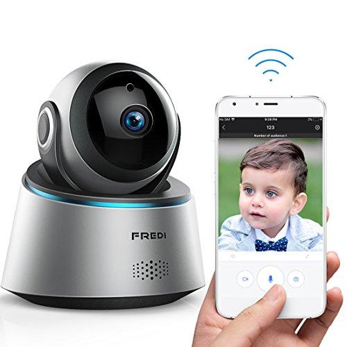 FREDI ネットワーク防犯カメラ 監視カメラ 1080P超高画質HDワイヤレスセキュリティカメラ WiFi対応ベビーモニター 遠隔監視・操作 録画録音 双方向音声 多台接続 赤外線ナイトビジョン 暗視撮影 動体検知 iOS/Android/Windows対応 日本語取扱説明書