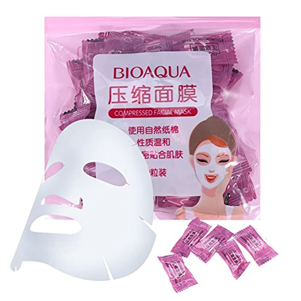 劇場暗くする実り多いスキンケア 50個/パックナチュラル 不織布 圧縮 フェイスマスク DIYフェイシャルマスク